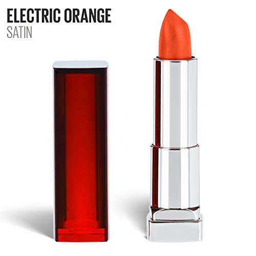 Maybelline New York Color Sensational Orange Lipstick, Satin Lipstick, Electric Orange, 0.15 oz