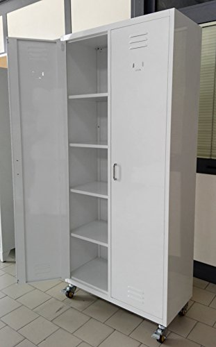 Guardaroba Con Rotelle.Armadio Guardaroba Spogliatoio In Metallo Speciale Multiuso Bianco Su Ruote Dim 85x40x180 Cm Bianco