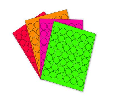 1-1 4 Assorted - Fluorescent Round Labels Kit for Laser & Inkjet Printers | 1 - 008 1.25 in. Dots per Pack (4 Colors)