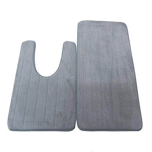 2 Pack Bath Rugs Mat - SPINEX Memory Non-slip Polypropylene Fiber Blanket Washable Floor Carpetfor Bathrooms, Toilet, Shower, Floor and Kitchen, Gray (Grey) - Harley Davidson Bathroom Rugs