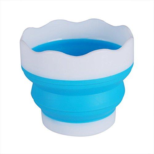 [해외]筆洗 筆洗 고 물통 축소 물통 소프트 원형 실리 카겔 스틸 블루 / Pencil wash bucket folding bucket soft round silica gel Blue