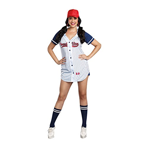 [Dreamgirl Women's Plus-Size Grand Slam Sporty Baseball Costume, Multi, 1X/2X] (Lady Reaper Adult Plus Size Costumes)