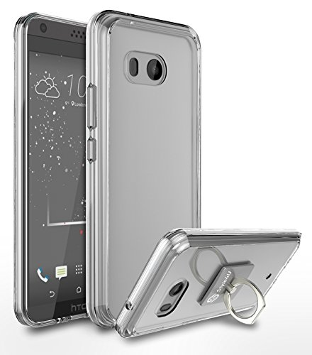 HTC U11 Case, HTC Ocean Case, Style4U Scratch Resistant Shock Absorbent Ultra Slim Transparent Crystal Clear PC Back TPU Bumper Protective Case Cover for HTC U 11 with 1 Ring Holder Kickstand [Clear]