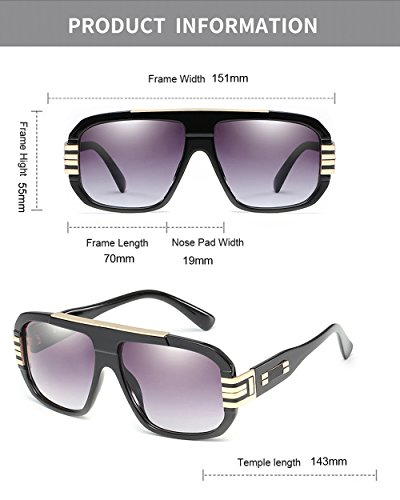 gran para retro cuadradas grande sol Gafas tamaño UV400 estilo hombres mujeres marco Gris Gafas retro de de de de diseñador diseñador de Oro Yqw4fx7RAY