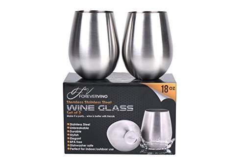 Stainless Steel Wine Glasses – Set of 2 Unbreakable Glasses for Wine – Premium Stainless Steel Portable Wine Cups – Fine Dining Accessories for Red & White Wine –Perfect Wine Gifts for Friends