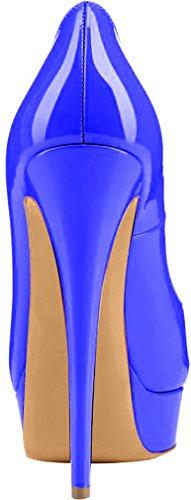 Trusify Mujer 15cm EU tamaño 34-46 Truthunder Tacón de aguja 15CM Sintético Sandalias de vestir Azul