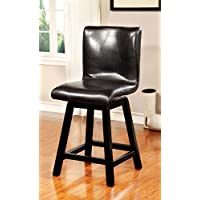 Furniture of America Morley Counter-Height Swivel Chair, Black, Set of 2