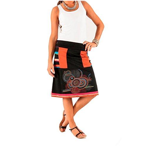 S Dtails Multicolore Femme LE de Coton MOON M Noir brods ORANGE Jersey Jupe AqxCgPw