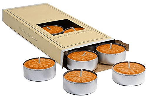3 Boxes Of Spiced Pumpkin Tea Light Candles, 4 to 5 hours, 1.5 in. diameter x .63 in. tall, 10 Candles For Wedding/Dinner, Holiday Event, Home Decoration, 10 candles per box