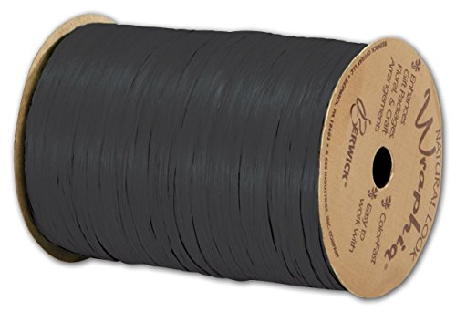 Multi Color Raffia (Solid Raffia - Matte Wraphia Black Ribbon, 1/4