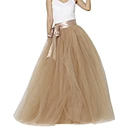 Lisong Women Floor Length Bowknot Tulle Party Evening Skirt 14 US Nude
