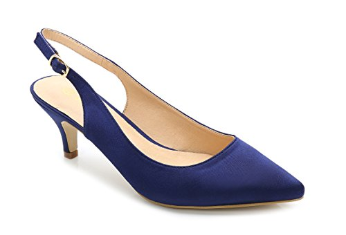 ComeShun Womens Sexy Pointed Closed Toe Comfortable Blue Slingback Pumps Size 9 (Sexy Satin Pump)