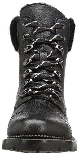 FRYE Frauen Samantha Hiker Combat Boot Schwarz gewachstes Pebbled Leather / Shearling