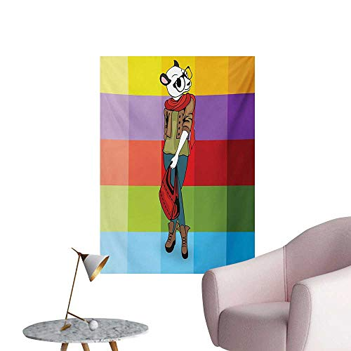 Girls Corridor/Indoor/Living Room Cartoon Fox with Fashion Clothes in Human Form Stylish Hipster Animal Theme ColorfulMulticolor W32 xL48 Poster Print ()