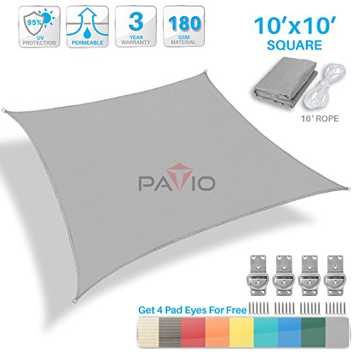 Patio Paradise 10' x 10' Light Grey Sun Shade Sail Square Square Canopy - Permeable UV Block Fabric Durable Patio Outdoor - Customized Available by Patio Paradise