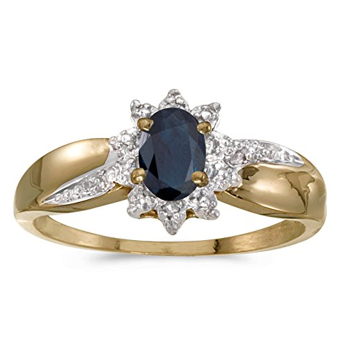 0.40 Carat ctw 10k Gold Oval Blue Sapphire Solitaire & Halo Diamond Fashion Swirl Cocktail Ring - Yellow-gold, Size 4.5 ()
