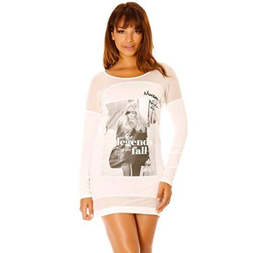 Miss Wear Line - Robe blanche bi-matière avec motif imprimé