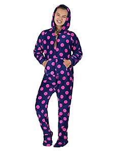 Footed Pajamas - Navy Pink Polka Kids Hoodie Chenille