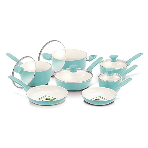 GreenPan Ceramic Non-Stick Surface Hard-Anodized Aluminum Body 12-Piece Cookware Set in Turquoise