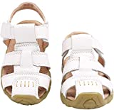 Gaatpot Boy's Girl's Closed Toe Sandals Kids Outdoor Leather Fisherman Sandals Summer Casual Flat Beach Walking Shoes White Size 7 UK Child = 25 CN