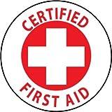 NMC HH35 2'' x 2'' PS Vinyl Hard Hat Emblem w/Legend: ''Certified First Aid'', 12 Packs of 25 pcs