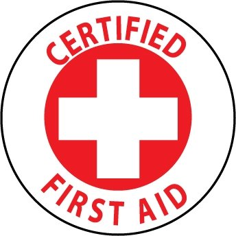 NMC HH35 2'' x 2'' PS Vinyl Hard Hat Emblem w/Legend: ''Certified First Aid'', 12 Packs of 25 pcs