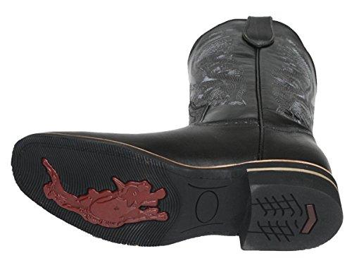 Uomo Cowboy Vera Pelle Di Mucca Pelle Di Migliore Qualità Punta Quadrata Stivali Nero Nero
