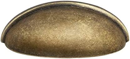 """Kullavik 10 Pack Modern Cabinet Hardware 3-11/16"""" (93mm) Bin Cup Drawer Handle Pull, 3"""" Inch (76mm) Hole Centers-Antique Brass"""