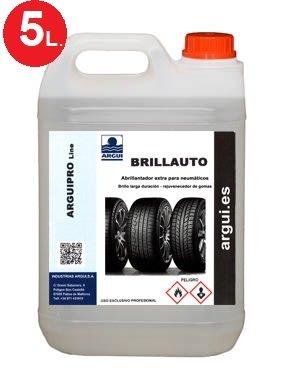Brillauto 5 litres. Brillant et rénovateur professionnel pneus et plastiques intérieurs et extérieurs. Nourrit et embellit la peau et skaï . argui.es