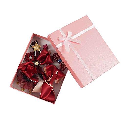 USONG 10 Pcs/Box Girls' Big Bow Hair Clips Grips Kids Hair Ties Elastic Hair Accessories Set Gift (Wine red)