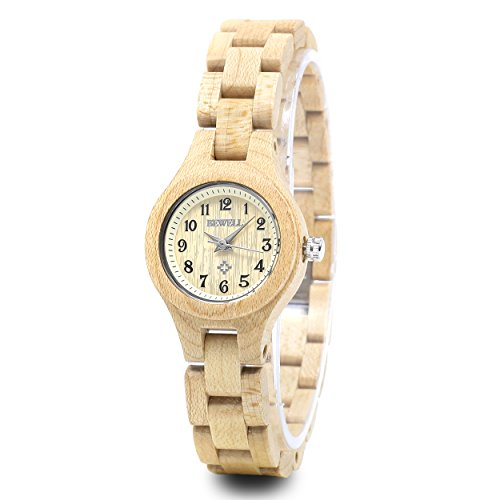 Bewell Small Dial Ladies Wooden Dress Watch Beige Round Bracelet Quartz Wristwatches for (Dial Quartz Bracelet Watch)
