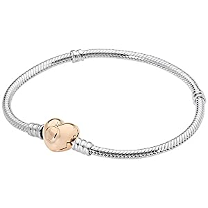 Pandora Silver Bracelet with Rose Heart Clasp | Pandora Moments