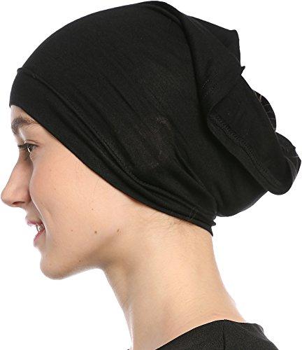 Black Under Scarf Tube Cap with Brim (Hijab Accessory), Black, Size One Size