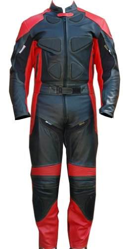 Perrini 2pc Motorcycle Racing Riding Leather Track Suit w/Armor & Padding New Red/Black ()