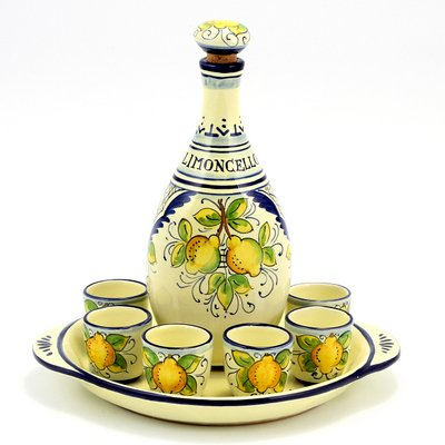 LIMONCELLO: Limoncello Set with Blue trimmings (Bottle with stopper+Tray+6 Shot Glasses) [#6008/SET-LMC] by LIMONCELLO