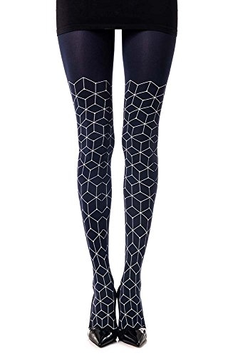 womens-networking-geometric-patterend-tights-blue-opaque-by-zohara-tights