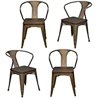 AmeriHome DCHAIRSWT 4 Piece Loft Rustic Gunmetal Metal Dining Chair with Wood Seat