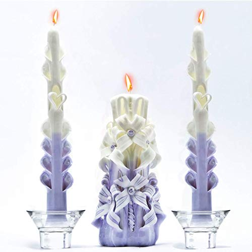 Hand Candles Set of 3 Lavender White by size 7,9