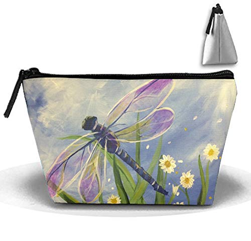 (Flying Dragonflies White Daisy Portable Travel Cosmetic Bags Trapezoidal Clutch Bag with Zipper)