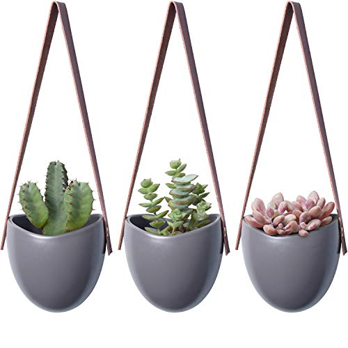 Mkono Ceramic Hanging Planter Modern Succulent Air Plant Flower Pot Wall Decor, Gray, Set of 3