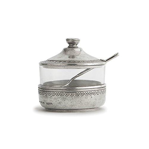 Arte Italica Anna Caffe Sugar with Spoon, Pewter (Anna Large Bowl)
