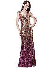 Ever-Pretty Women Sparkling Gradual Champagne Gold Sequin Mermaid Cap Sleeves Evening Dress Prom Dress 08999