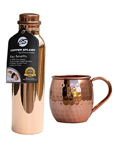 Copper Splash 30oz/900mll Pure Copper Water Bottle and 16oz hammered Moscow Mule Mug (Smirnoff Bottle Costume)