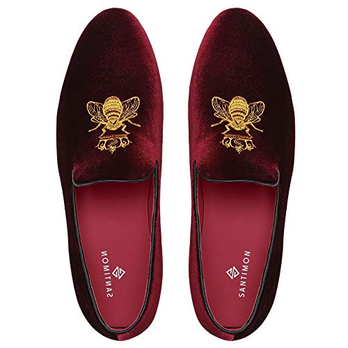 SANTIMON Loafers for Men Velvet Slip on Dress Shoes with Gold Embroidery Smoking Slippers Flats Wine Red 9.5 D(M) US ()