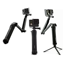 SublimeWare® - (Black) 3 Way Extension Pole Hand Grip Camera Mount for Gopro 3 Way Stick Hero2 Hero3 Hero3+ Hero4 HD Silver Session SJCam SJ4000 SJ5000 gopro hero 4 3 way