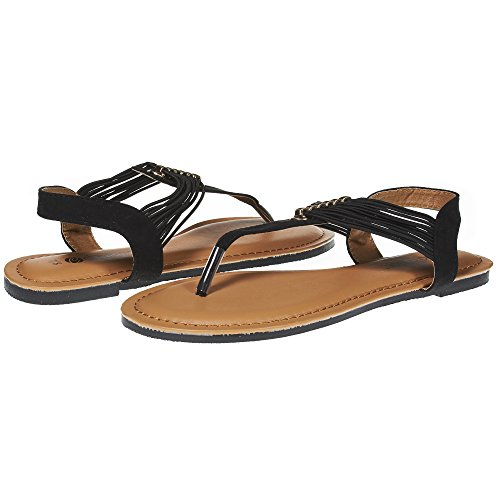 52f7ec532d6b Sara Z Womens T Strap Elastic Vamp Flat Thong Sandal with Rhinestones