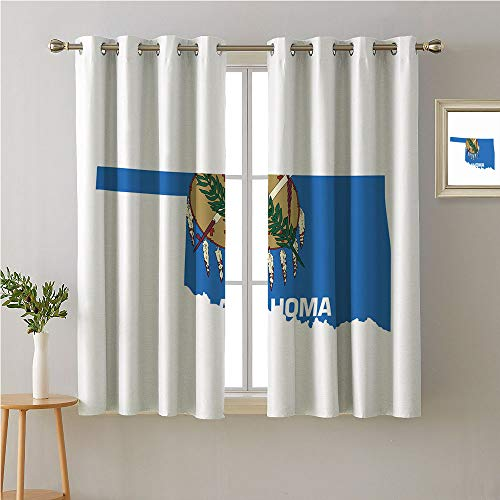 - Jinguizi Oklahoma Grommet Curtain Backdrop,The Sooner State Flag as Map Native American Peace Pipe Olive Branch Osage,Sliding Darkening Curtains,55W x 39L
