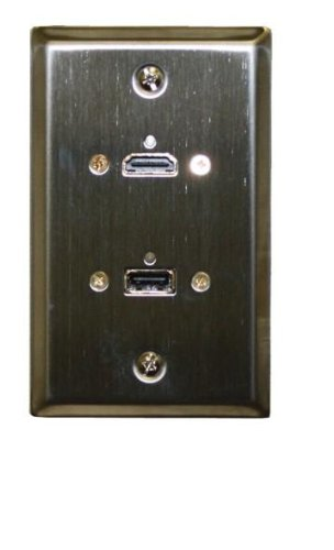 Thru Wall Plate - Stainless Steel HDMI + USB 3.0 Feed Thru Wall Plate - Philmore 75-640