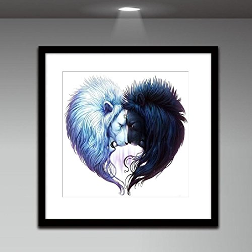 Pandaie New 5D Diamond Painting Kit -Black and white Lion- DIY Crystals Diamond Rhinestone Painting Pasted Paint by Number Kits Cross Stitch Embroidery Decor Wall Stickers & Murals Bedroom