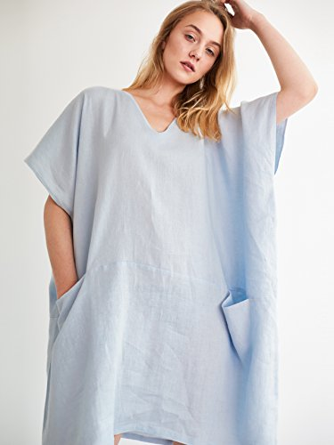JUNA Square-Cut Linen Dress Short Sleeve Tunic Maternity Dress Oversized Plus Size by Love and Confuse